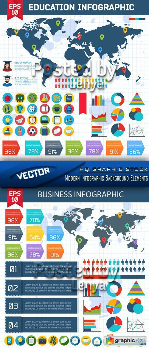 Stock Vector - Modern Infographic Background Elements 01
