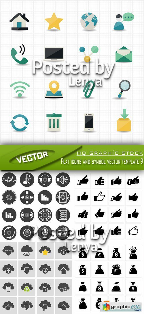 Flat icons and symbol vector template 9