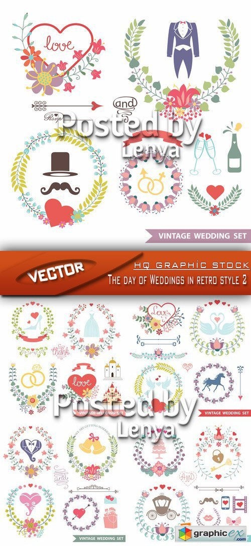 Stock Vector - The day of Weddings in retro style 2