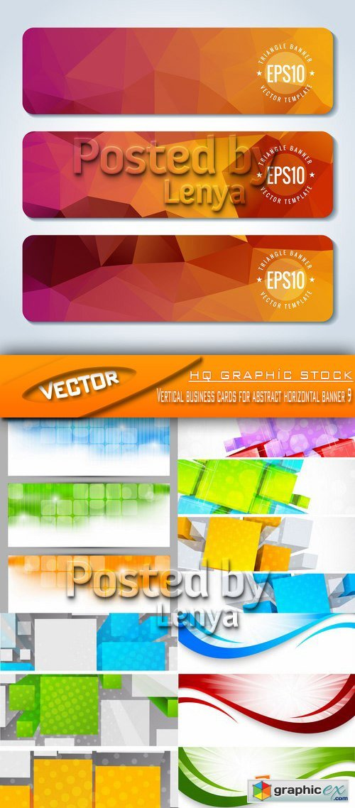 Stock Vector - Vertical business cards for abstract horizontal banner 9