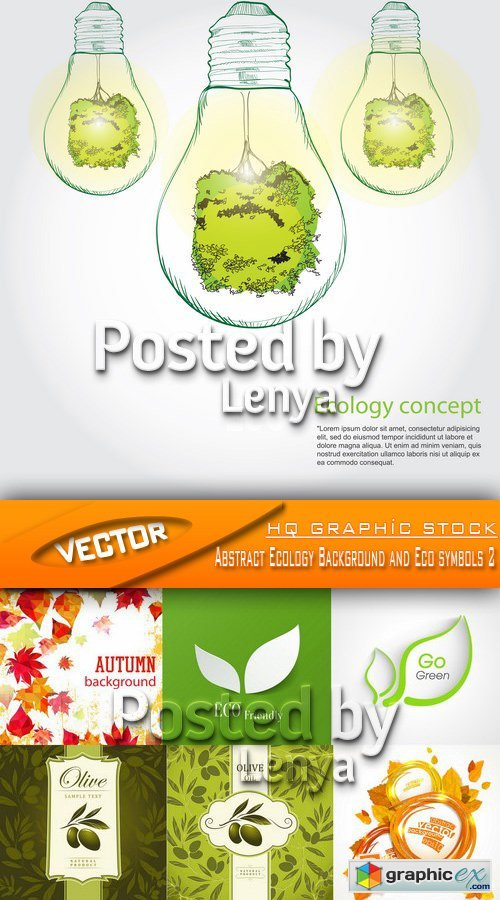 Stock Vector - Abstract Ecology Background and Eco symbols 2