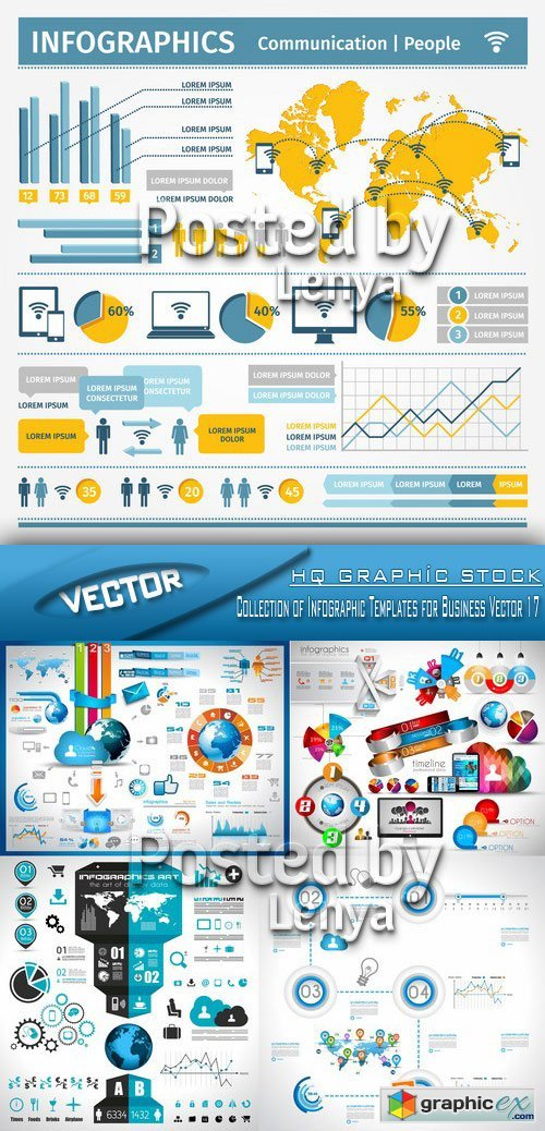 Stock Vector - Collection of Infographic Templates for Business Vector 17