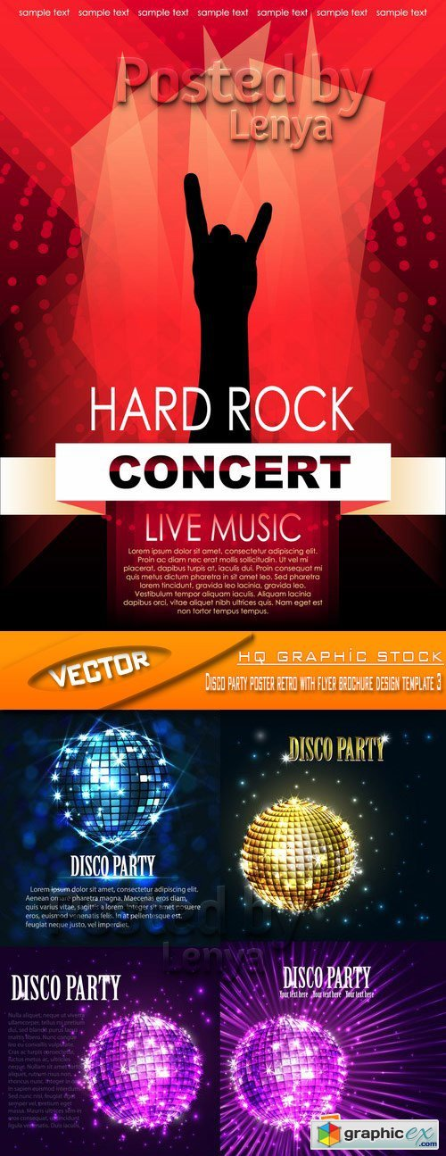 Stock Vector - Disco party poster retro with flyer brochure design template 3