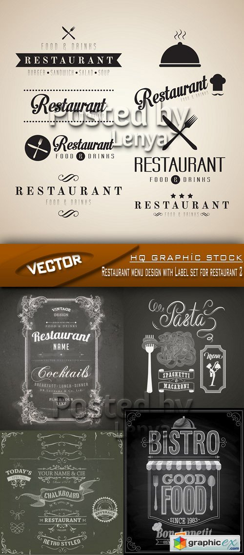 Stock Vector - Restaurant menu design with Label set for restaurant 2
