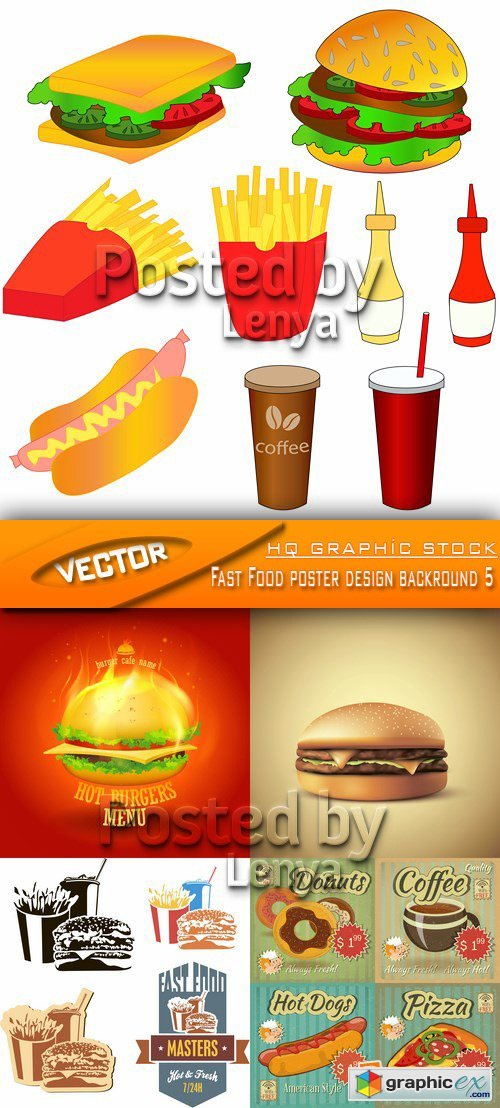 Stock Vector - Fast Food poster design backround 5