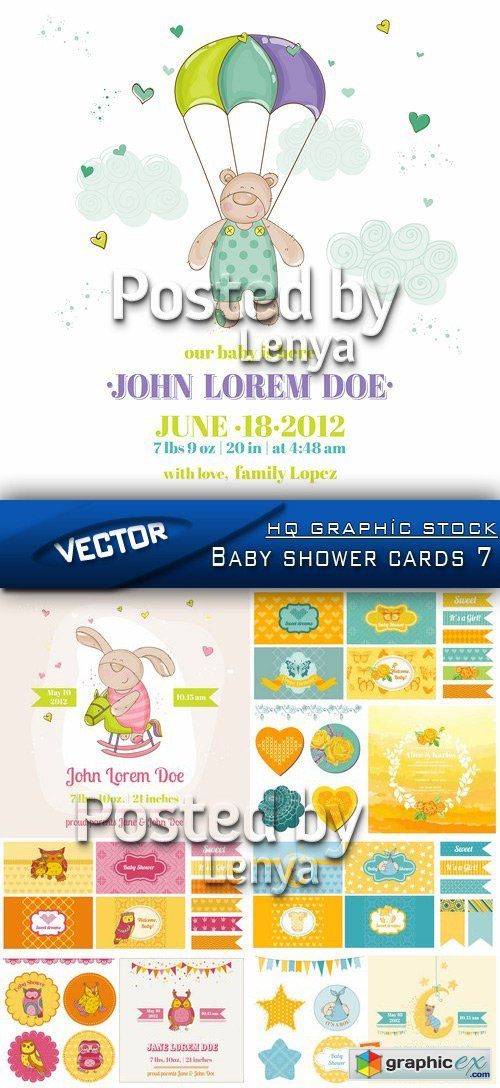 Stock Vector - Baby shower cards 7