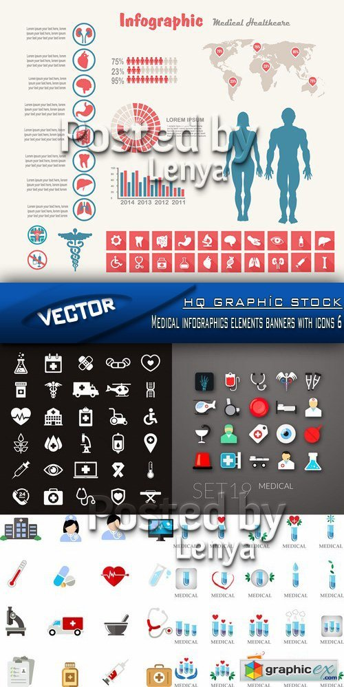 Stock Vector - Medical infographics elements banners with icons 6