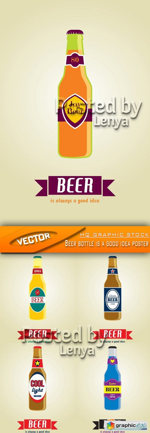 Stock Vector - Beer bottle is a good idea poster
