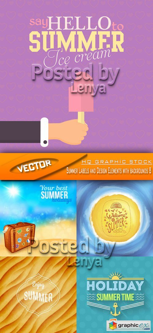 Stock Vector - Summer Labels and Design Elements with backrounds 8