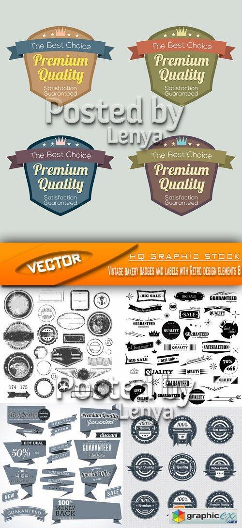 Stock Vector - Vintage bakery badges and labels with Retro design elements 8
