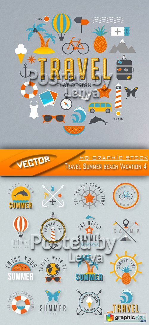 Stock Vector - Travel Summer beach Vacation 4
