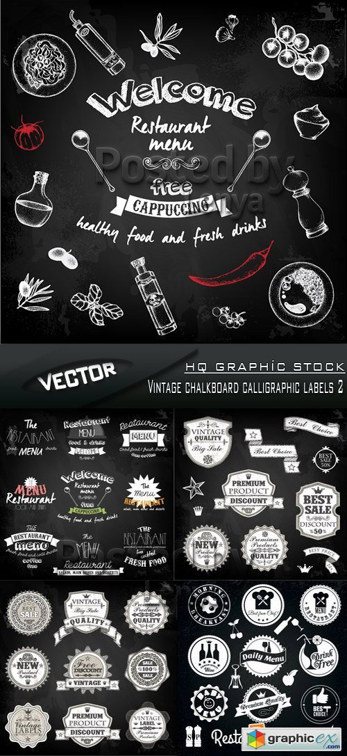Stock Vector - Vintage chalkboard calligraphic labels 2