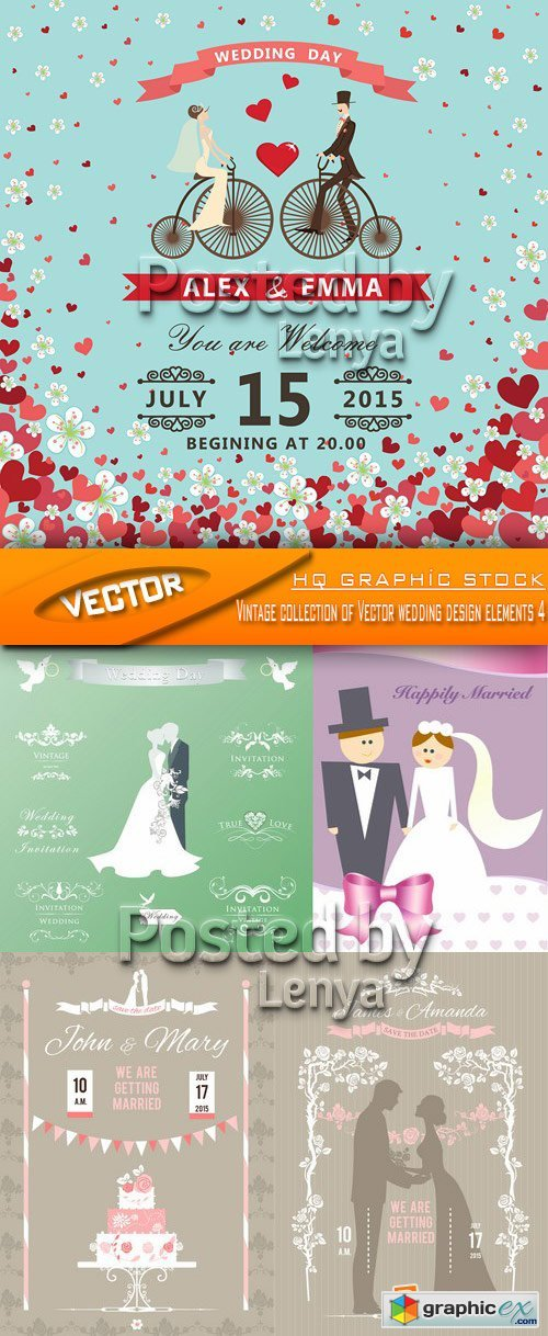 Stock Vector - Vintage collection of Vector wedding design elements 4
