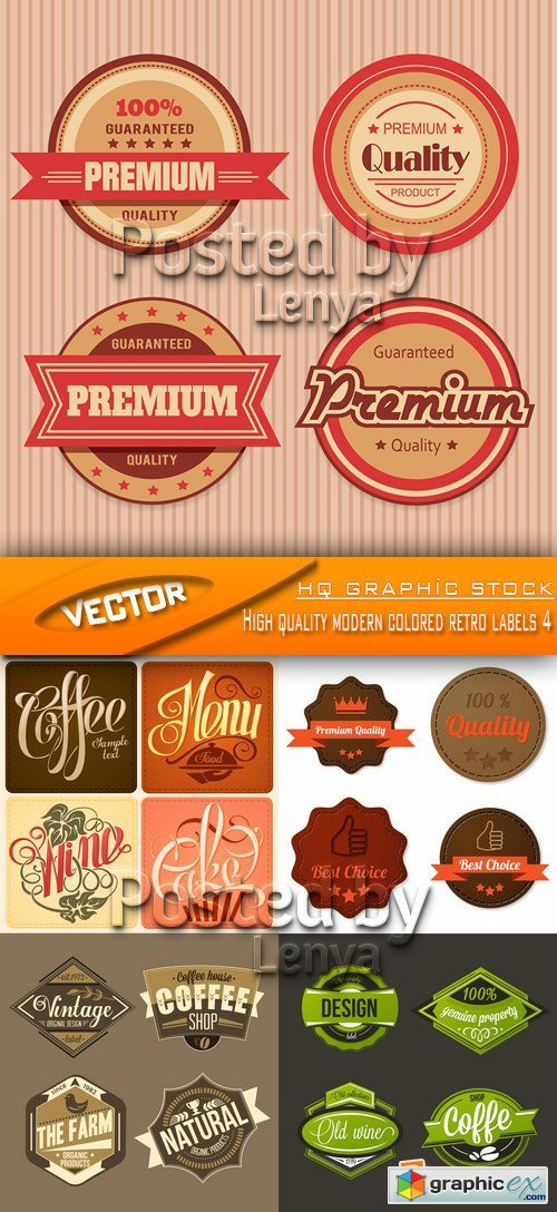 Stock Vector - High quality modern colored retro labels 4