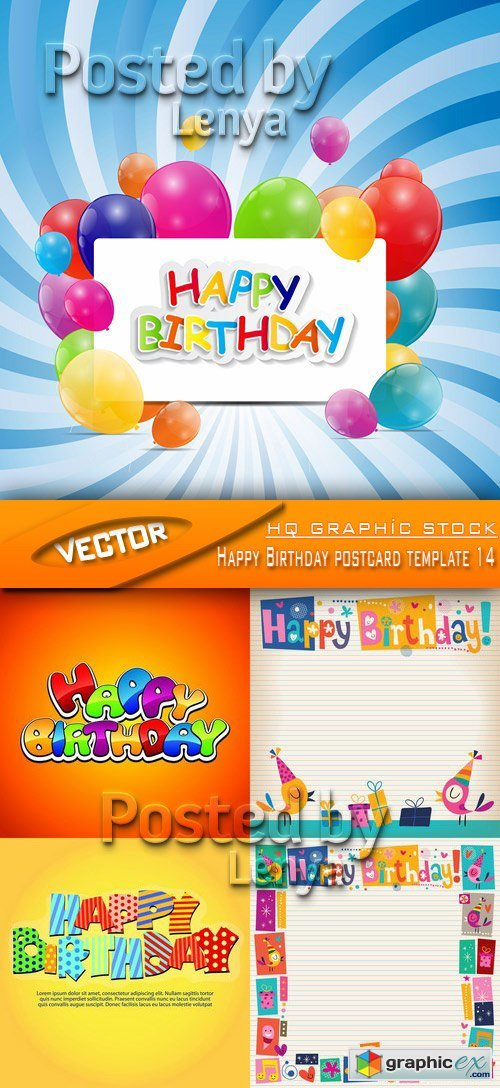 Stock Vector - Happy Birthday postcard template 14