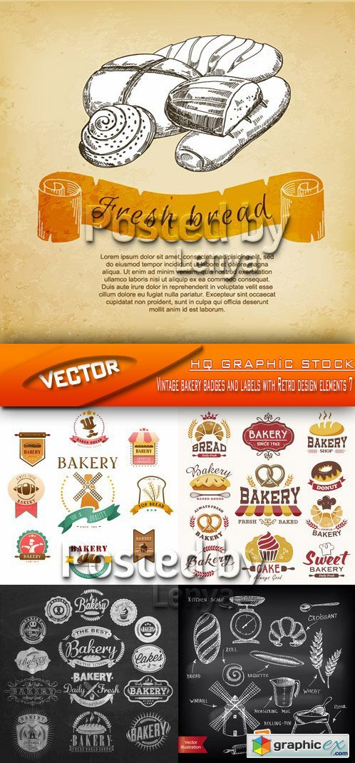 Stock Vector - Vintage bakery badges and labels with Retro design elements 7
