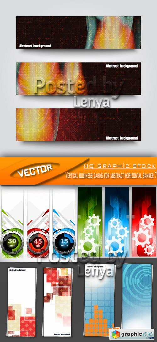 Stock Vector - Vertical business cards for abstract horizontal banner 7