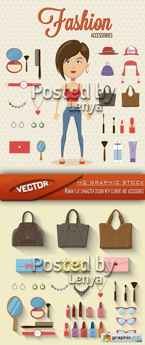 Stock Vector - Woman flat character design with element and accessories