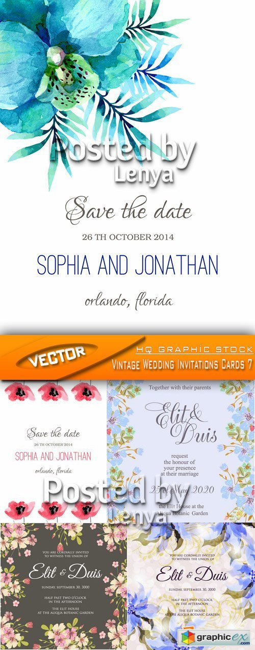Stock Vector - Vintage Wedding Invitations Cards 7