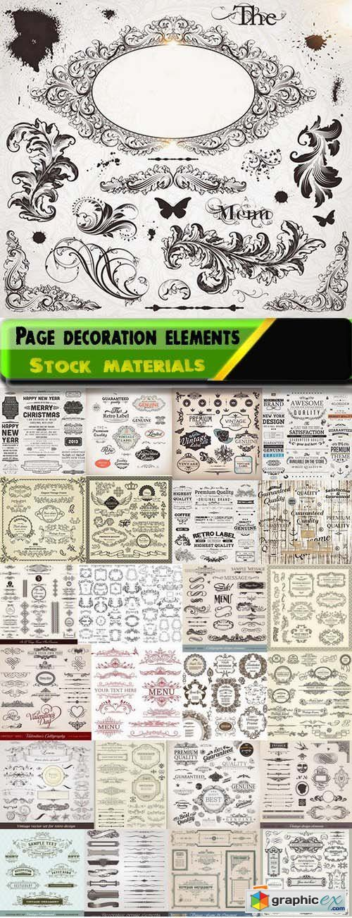 Page decoration elements and labels design 25xEPS