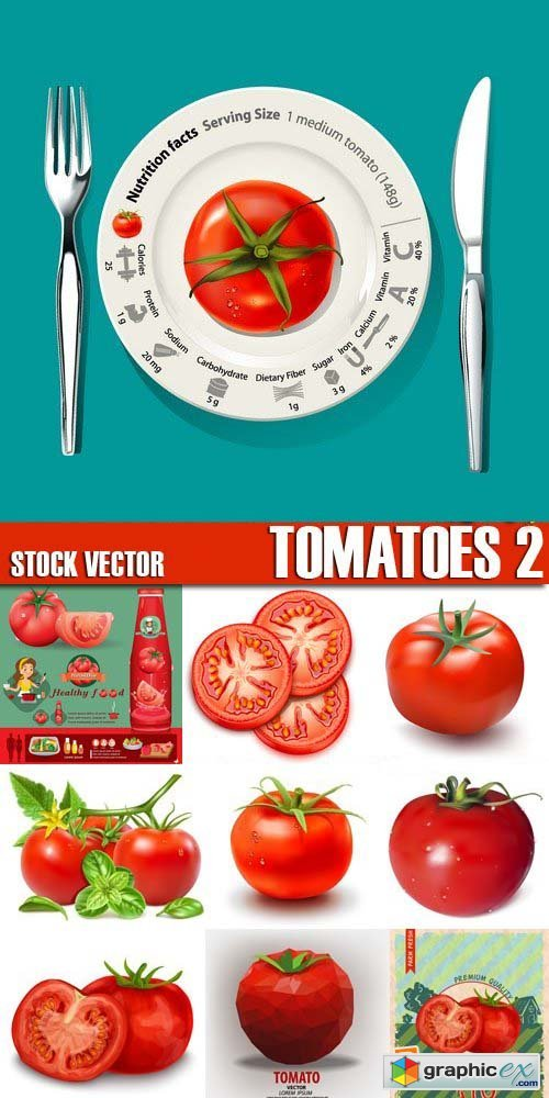 Stock Vectors - Tomatoes 2, 25xEPS