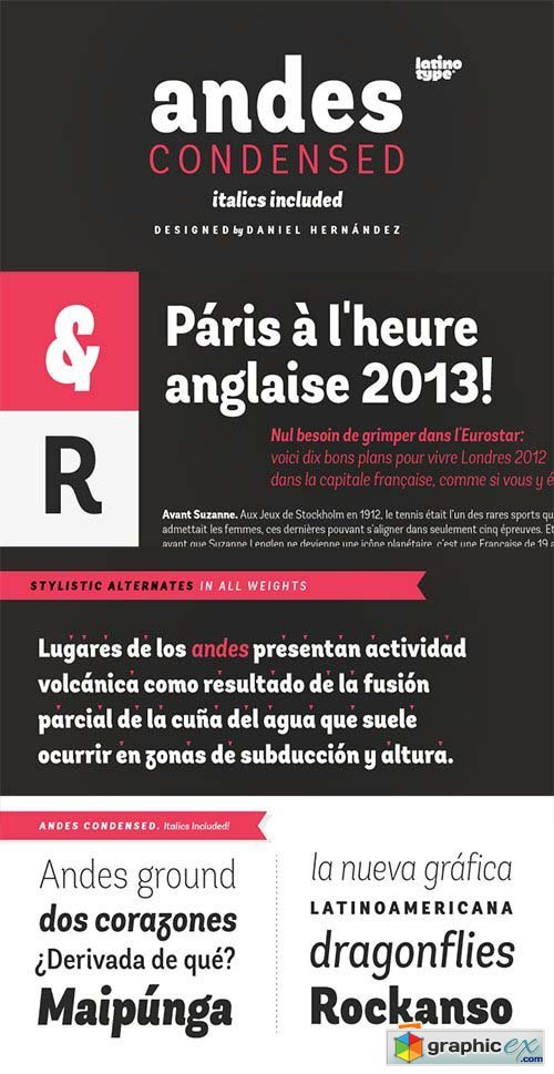 Andes Condensed Font Family - 16 Fonts $464