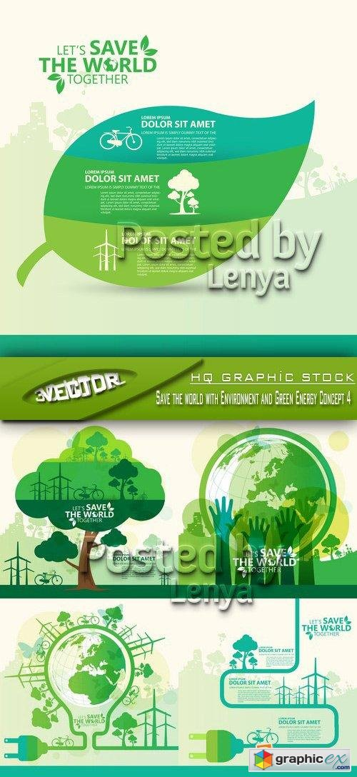 Stock Vector - Save the world with Environment and Green Energy Concept 4