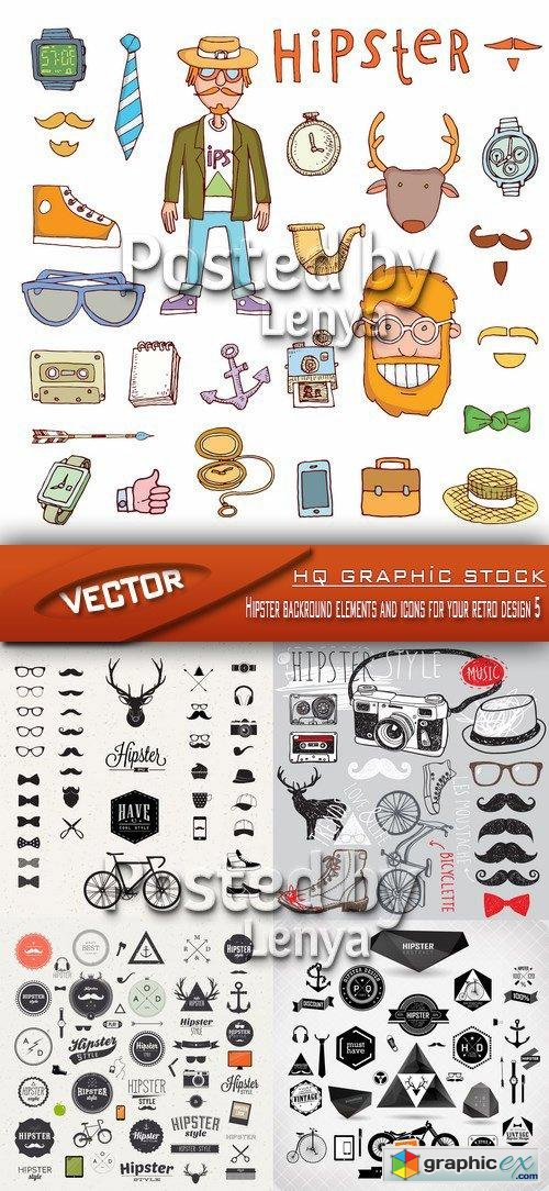 Stock Vector - Hipster backround elements and icons for your retro design 5