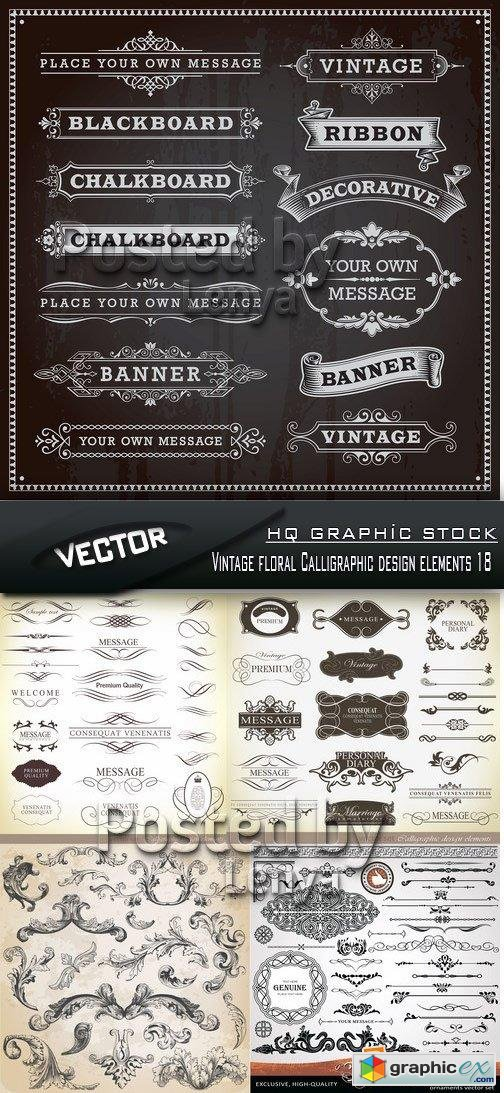 Stock Vector - Vintage floral Calligraphic design elements 18