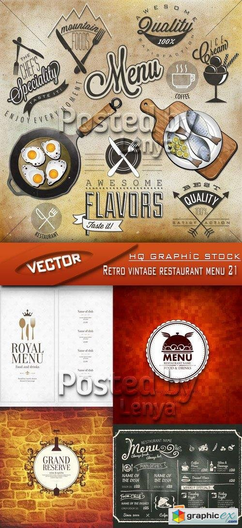 Stock Vector - Retro vintage restaurant menu 21