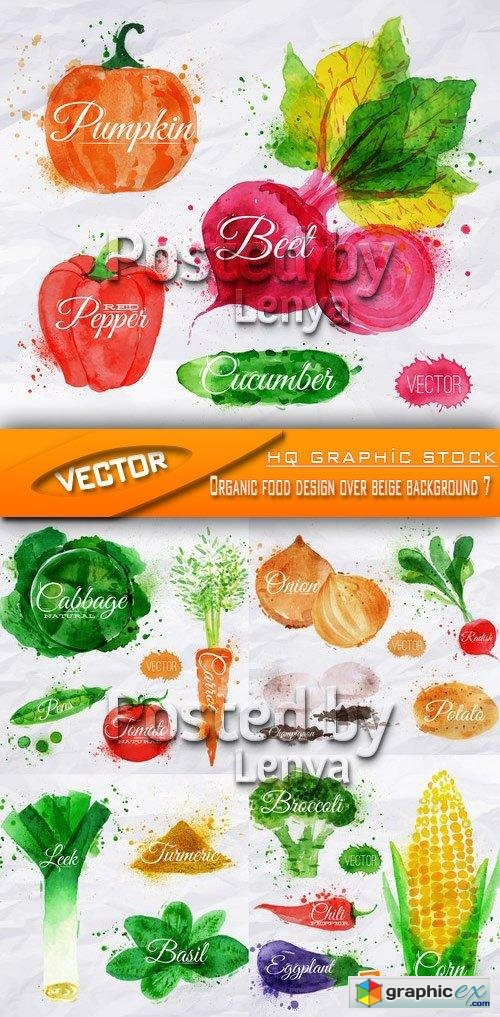 Stock Vector - Organic food design over beige background 7
