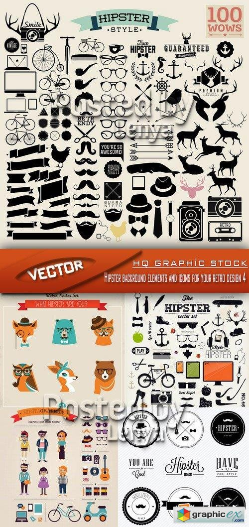 Hipster backround elements and icons for your retro design 4