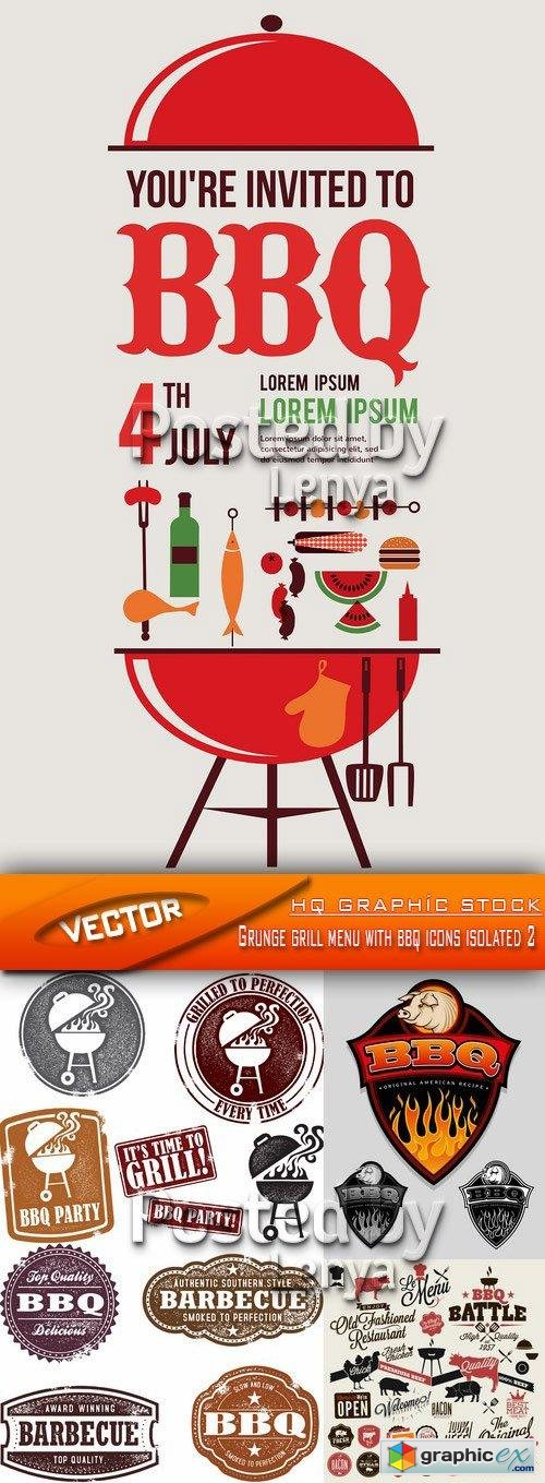 Grunge grill menu with bbq icons isolated 2