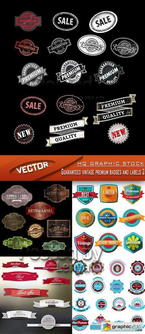 Stock Vector - Guaranteed vintage premium badges and labels 2