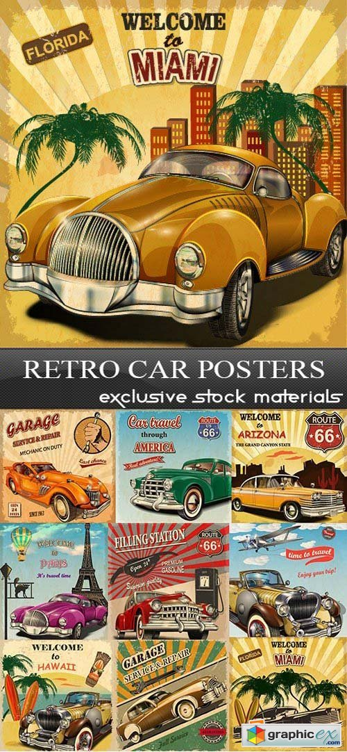 Retro Car Posters, 25xEPS