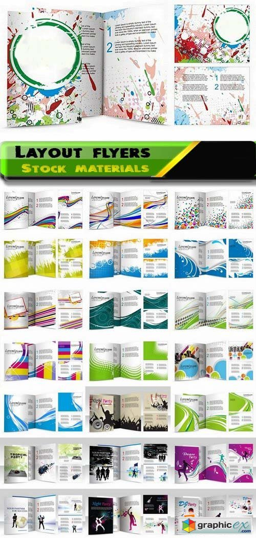 Flyers layout and design Business card template 25xEPS