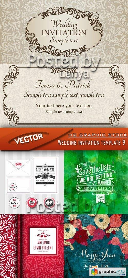 Stock Vector - Wedding invitation template 9