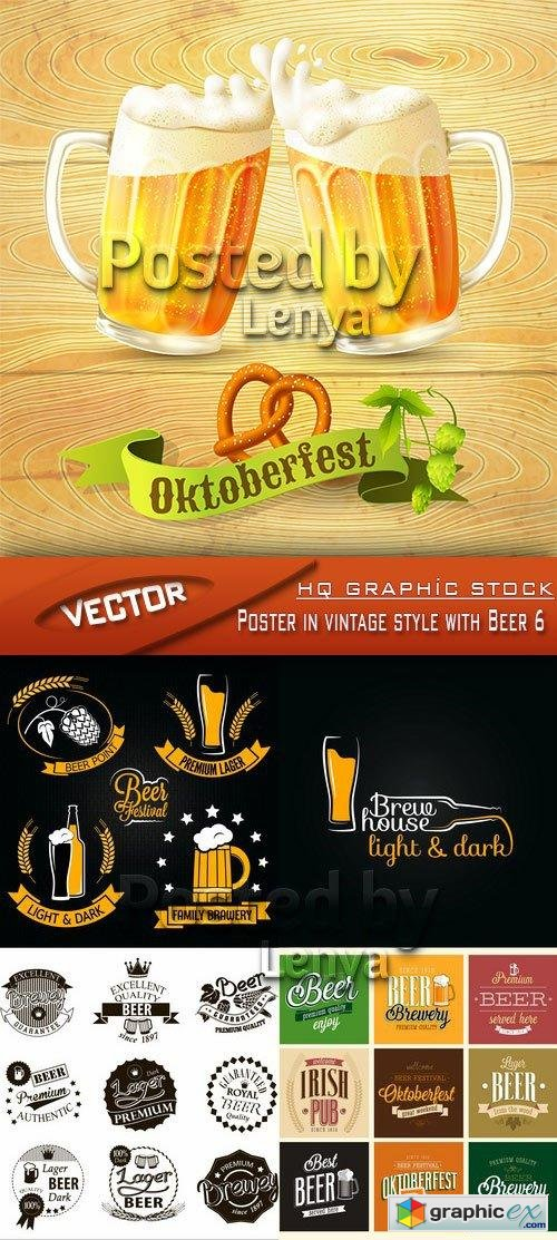 Stock Vector - Poster in vintage style with Beer 6