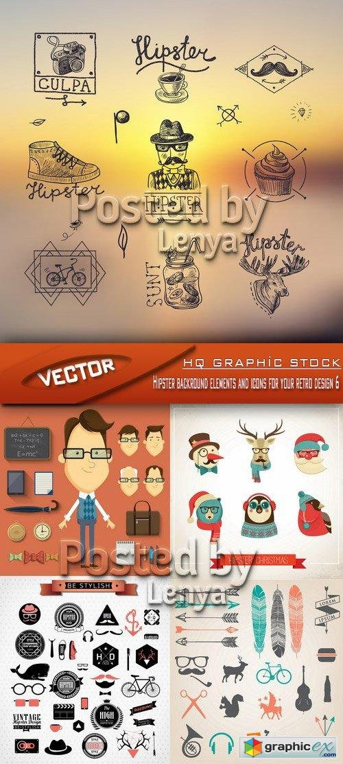 Stock Vector - Hipster backround elements and icons for your retro design 6