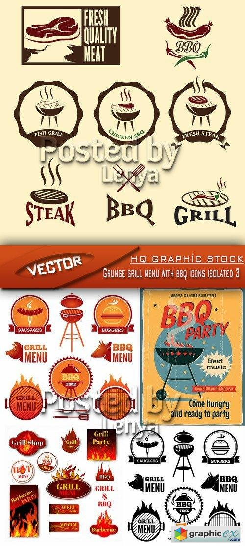 Grunge grill menu with bbq icons isolated 3