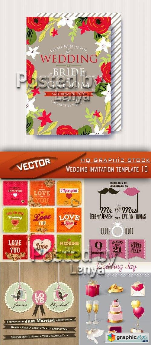 Stock Vector - Wedding invitation template 10