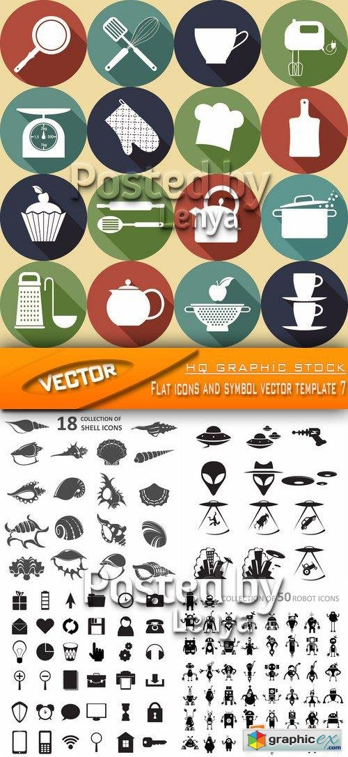 Flat icons and symbol vector template 7