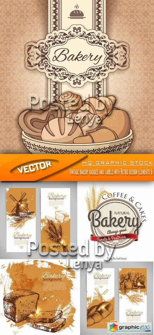 Stock Vector - Vintage bakery badges and labels with Retro design elements 6