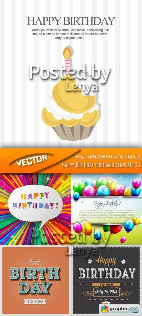 Stock Vector - Happy Birthday postcard template 13