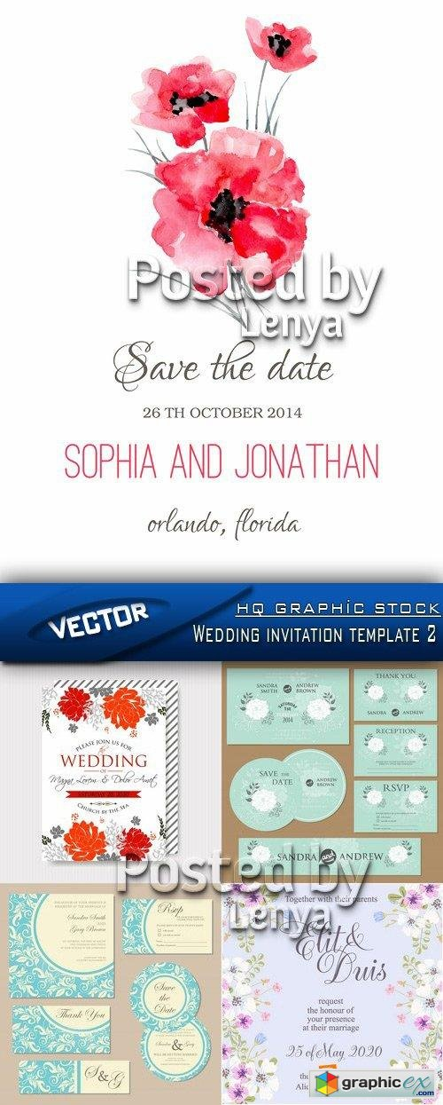 Stock Vector - Wedding invitation template 2