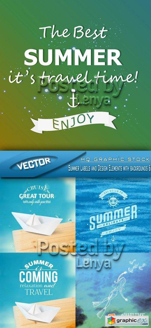 Stock Vector - Summer Labels and Design Elements with backrounds 06