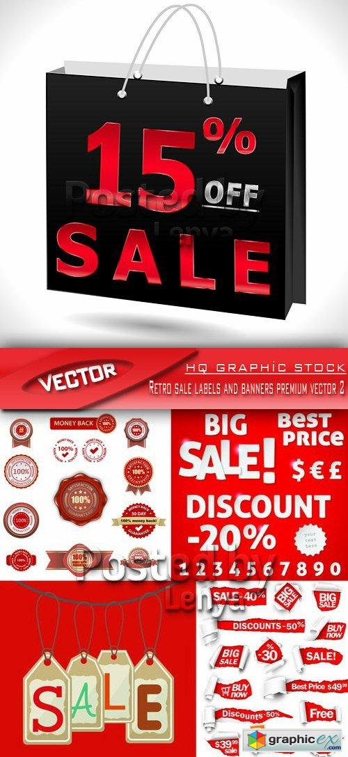 Stock Vector - Retro sale labels and banners premium vector 2