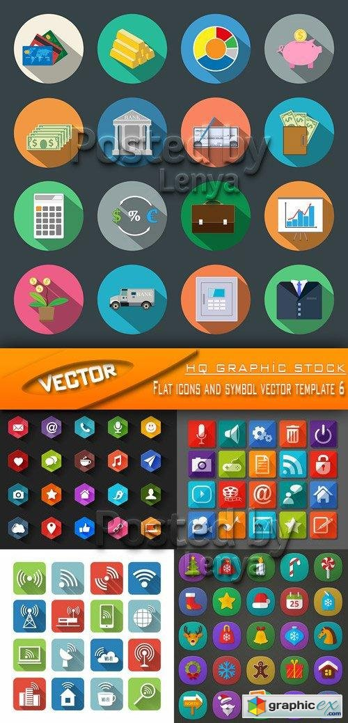 Flat icons and symbol vector template 6