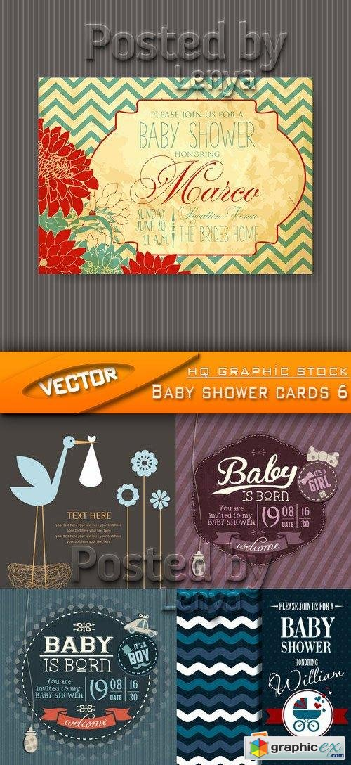 Stock Vector - Baby shower cards 6