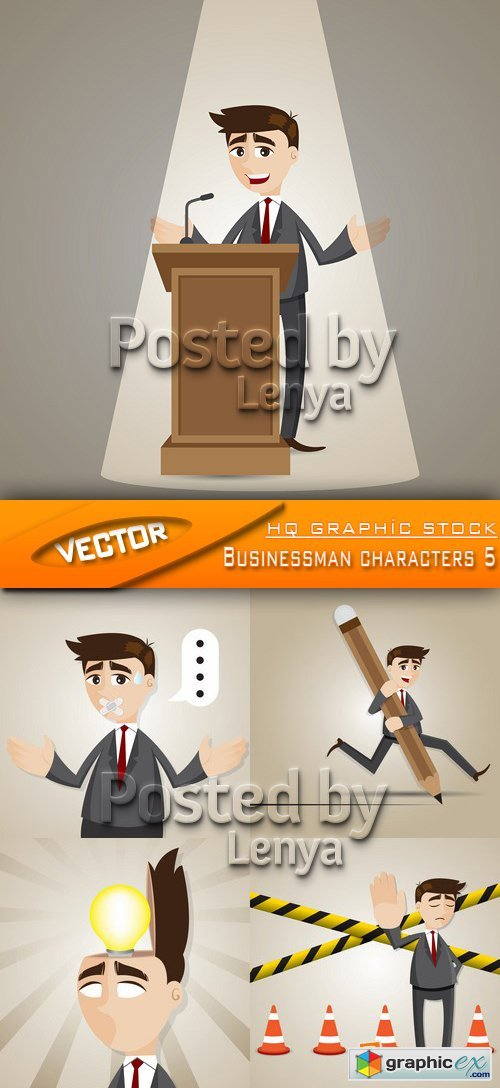 Stock Vector -  Businessman characters 5